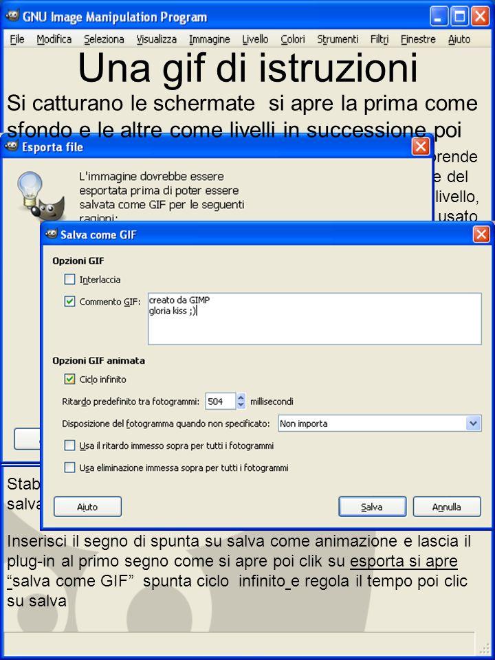 Una gif di istruzioni File /salva come/ Il file prende il nome del primo livello, quello usato come sfondo È necessario modificare lestensione in gif