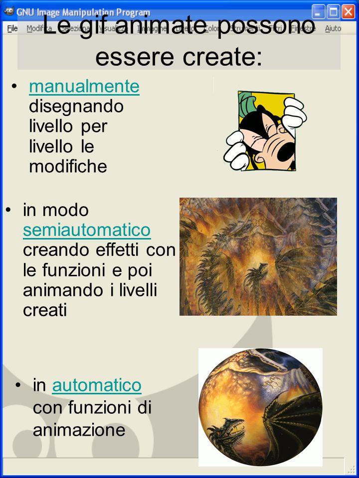 Le gif animate possono essere create: in automatico con funzioni di animazioneautomatico in modo semiautomatico creando effetti con le funzioni e poi