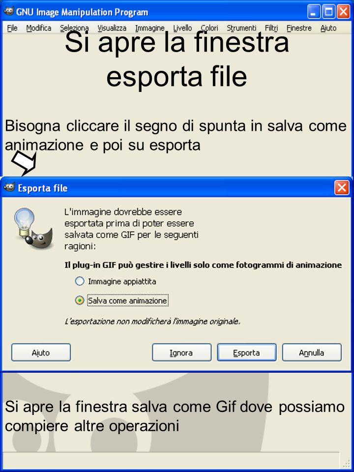 Si apre la finestra esporta file Bisogna cliccare il segno di spunta in salva come animazione e poi su esporta Si apre la finestra salva come Gif dove