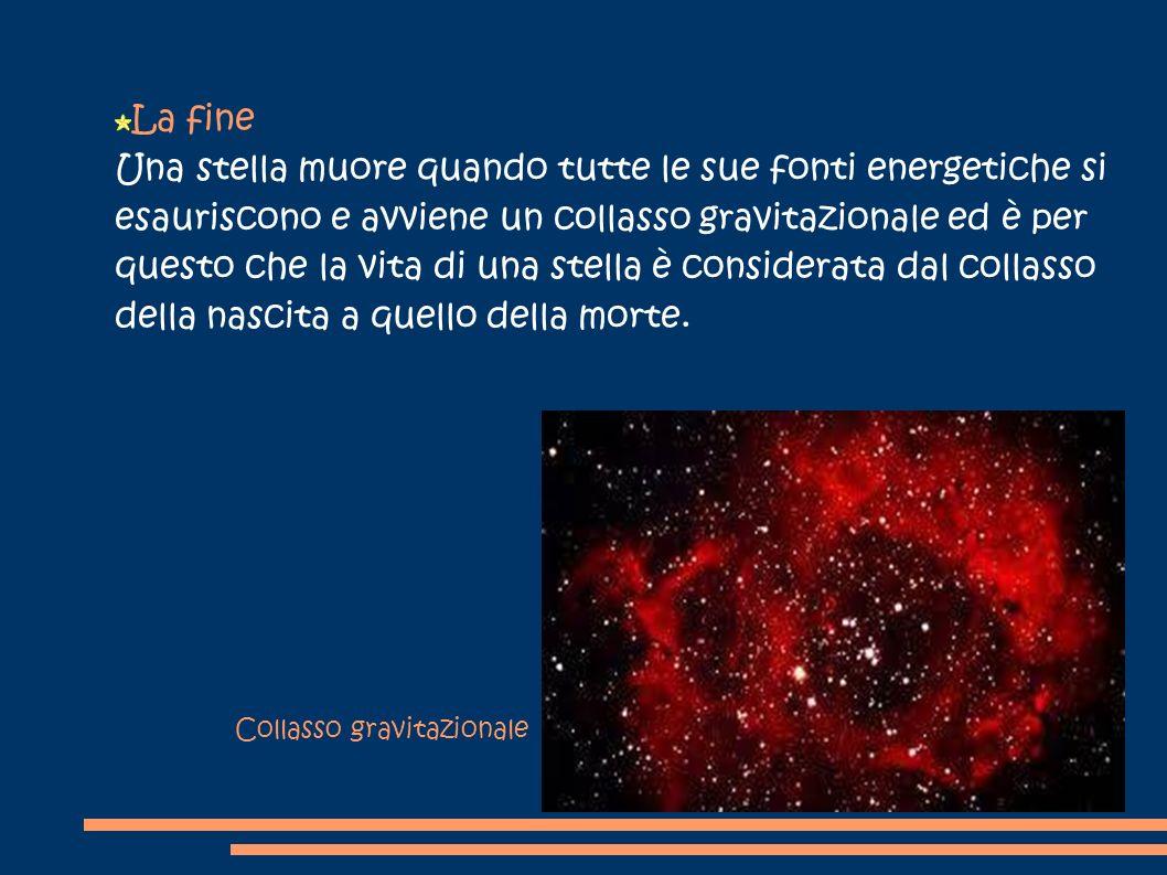 La fine Una stella muore quando tutte le sue fonti energetiche si esauriscono e avviene un collasso gravitazionale ed è per questo che la vita di una