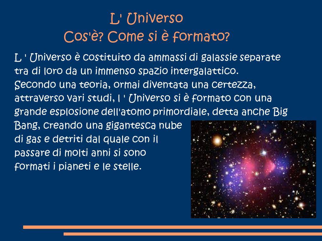 L' Universo Cos'è? Come si è formato? L ' Universo è costituito da ammassi di galassie separate tra di loro da un immenso spazio intergalattico. Secon