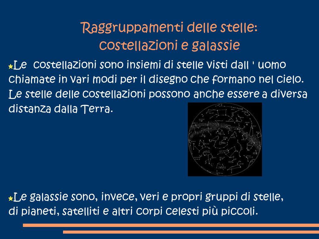 Raggruppamenti delle stelle: costellazioni e galassie Le costellazioni sono insiemi di stelle visti dall ' uomo chiamate in vari modi per il disegno c
