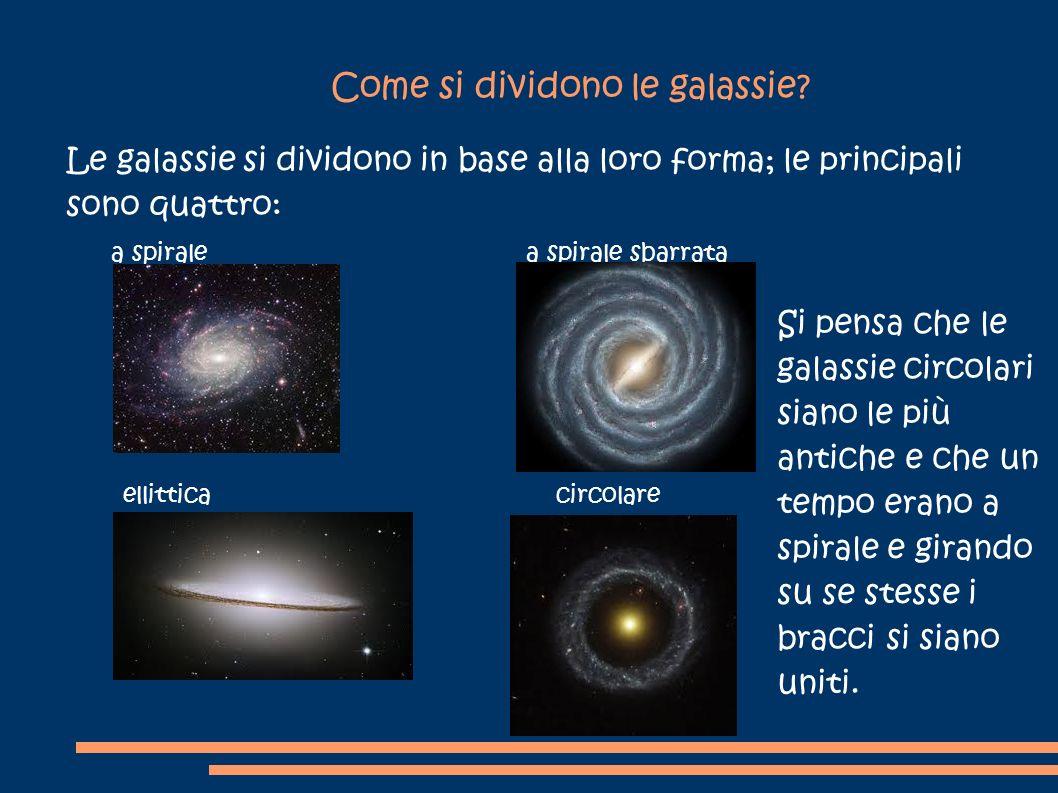 Come si dividono le galassie? Le galassie si dividono in base alla loro forma; le principali sono quattro: a spirale a spirale sbarrata ellittica circ