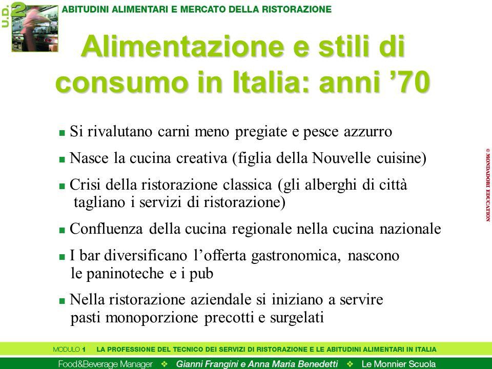 Alimentazione e stili di consumo in Italia: anni 70 n Si rivalutano carni meno pregiate e pesce azzurro n Nasce la cucina creativa (figlia della Nouve