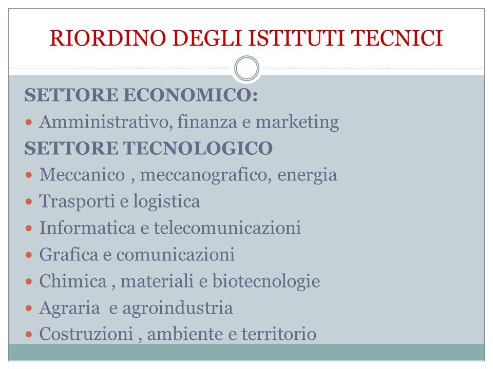 SETTORE ECONOMICO: Amministrativo, finanza e marketing SETTORE TECNOLOGICO Meccanico, meccanografico, energia Trasporti e logistica Informatica e tele