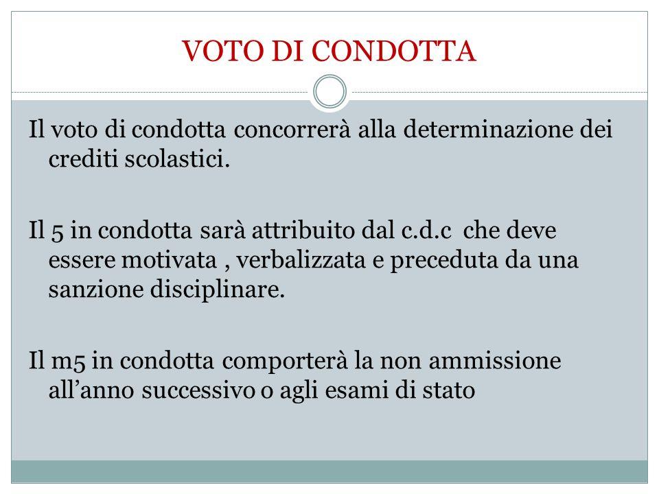 VOTO DI CONDOTTA Il voto di condotta concorrerà alla determinazione dei crediti scolastici. Il 5 in condotta sarà attribuito dal c.d.c che deve essere