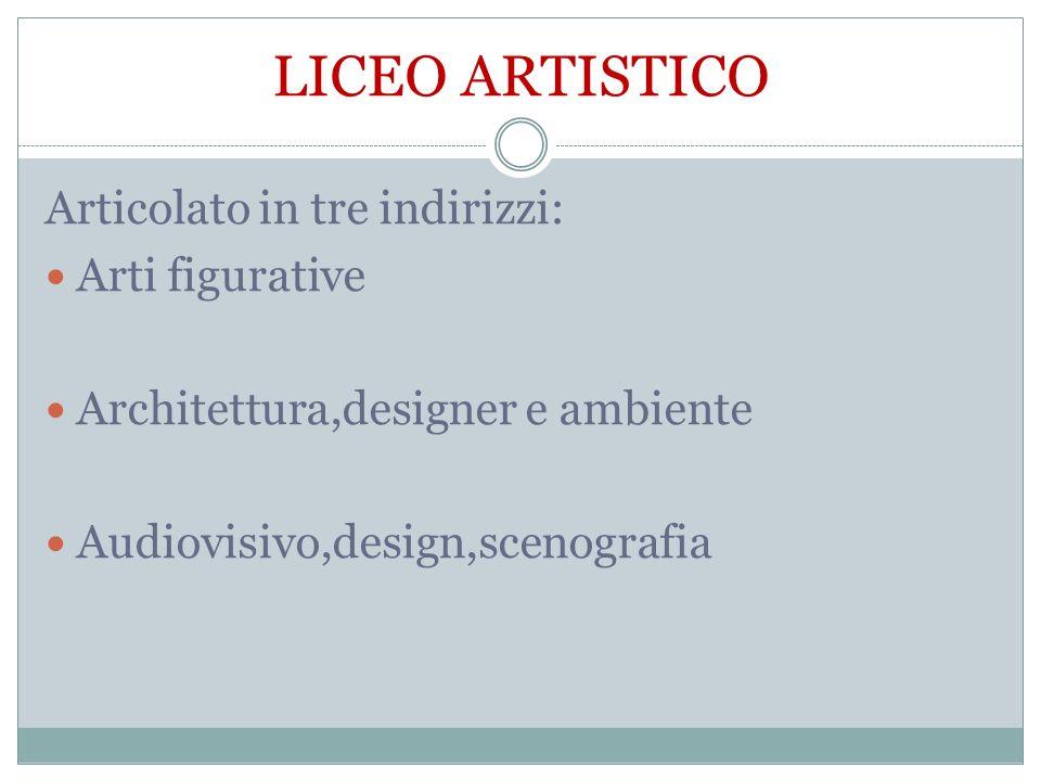 LICEO ARTISTICO Articolato in tre indirizzi: Arti figurative Architettura,designer e ambiente Audiovisivo,design,scenografia