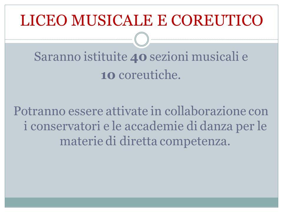 LICEO MUSICALE E COREUTICO Saranno istituite 40 sezioni musicali e 10 coreutiche. Potranno essere attivate in collaborazione con i conservatori e le a