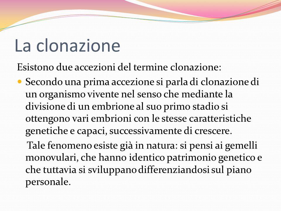 La clonazione In una seconda accezione, per clonazione si intende il tentativo di formare un embrione a partire da un ovulo femminile privato del suo nucleo e da una cellula non direttamente deputata alla riproduzione, ma appartenente semplicemente al corpo di un organismo (una cosiddetta cellula somatica).