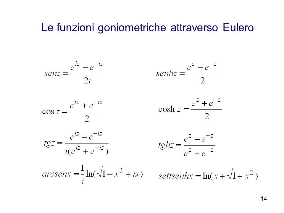 14 Le funzioni goniometriche attraverso Eulero