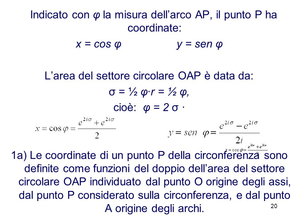 20 Indicato con φ la misura dellarco AP, il punto P ha coordinate: x = cos φ y = sen φ Larea del settore circolare OAP è data da: σ = ½ φr = ½ φ, cioè: φ = 2 σ 1a) Le coordinate di un punto P della circonferenza sono definite come funzioni del doppio dellarea del settore circolare OAP individuato dal punto O origine degli assi, dal punto P considerato sulla circonferenza, e dal punto A origine degli archi.