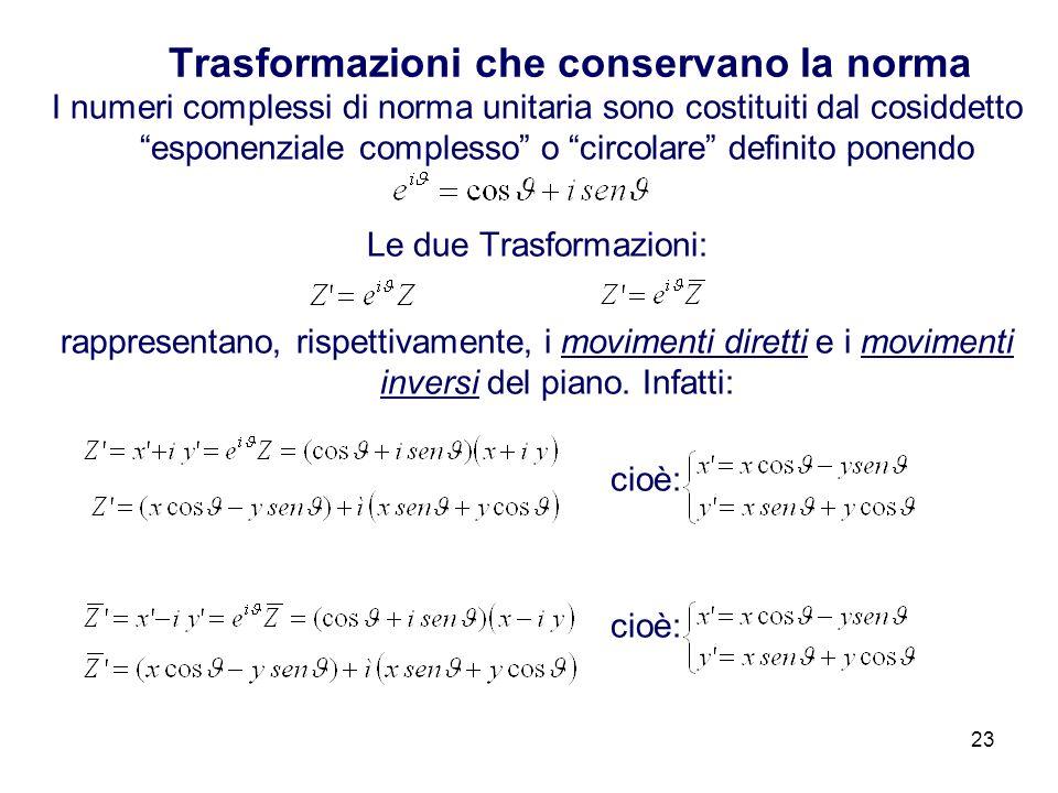 23 Trasformazioni che conservano la norma I numeri complessi di norma unitaria sono costituiti dal cosiddetto esponenziale complesso o circolare definito ponendo Le due Trasformazioni: rappresentano, rispettivamente, i movimenti diretti e i movimenti inversi del piano.