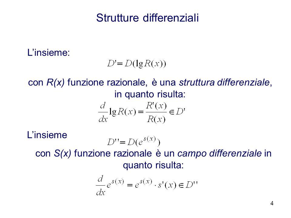 4 Strutture differenziali Linsieme: con R(x) funzione razionale, è una struttura differenziale, in quanto risulta: Linsieme con S(x) funzione razionale è un campo differenziale in quanto risulta: