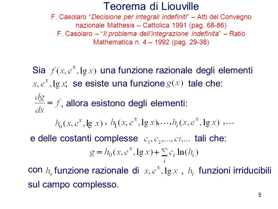 5 Teorema di Liouville F. Casolaro Decisione per integrali indefiniti – Atti del Convegno nazionale Mathesis – Cattolica 1991 (pag. 68-86) F. Casolaro