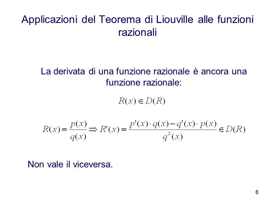 6 Applicazioni del Teorema di Liouville alle funzioni razionali La derivata di una funzione razionale è ancora una funzione razionale: Non vale il viceversa.
