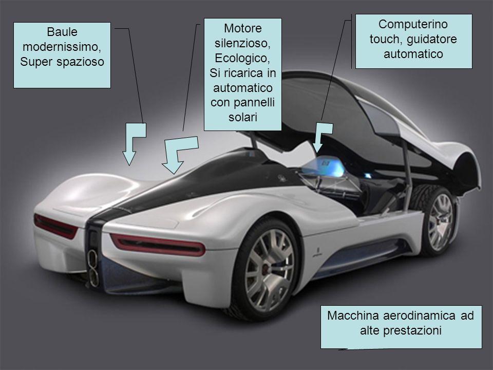 Computerino touch, guidatore automatico Baule modernissimo, Super spazioso Motore silenzioso, Ecologico, Si ricarica in automatico con pannelli solari Macchina aerodinamica ad alte prestazioni