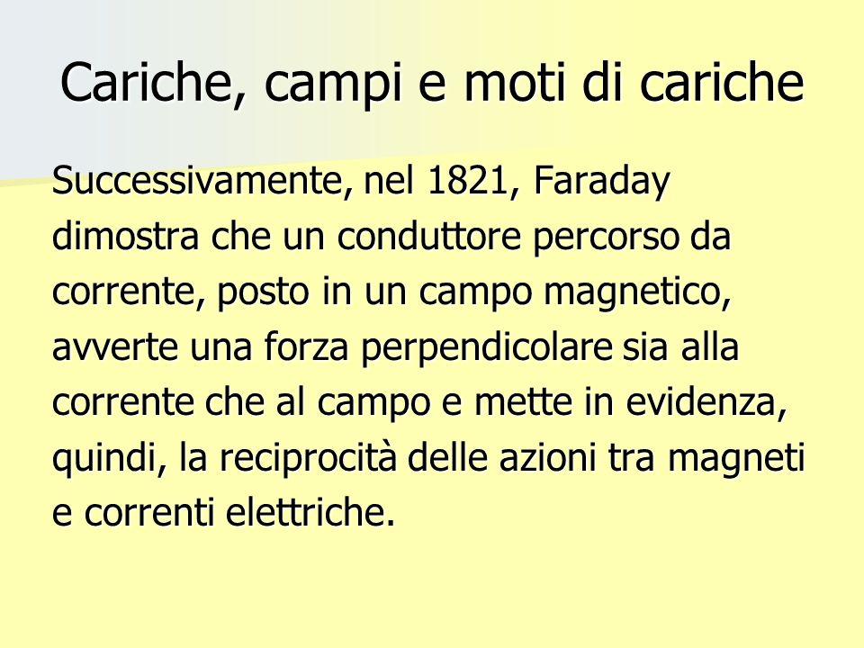 Cariche, campi e moti di cariche Successivamente, nel 1821, Faraday dimostra che un conduttore percorso da corrente, posto in un campo magnetico, avve