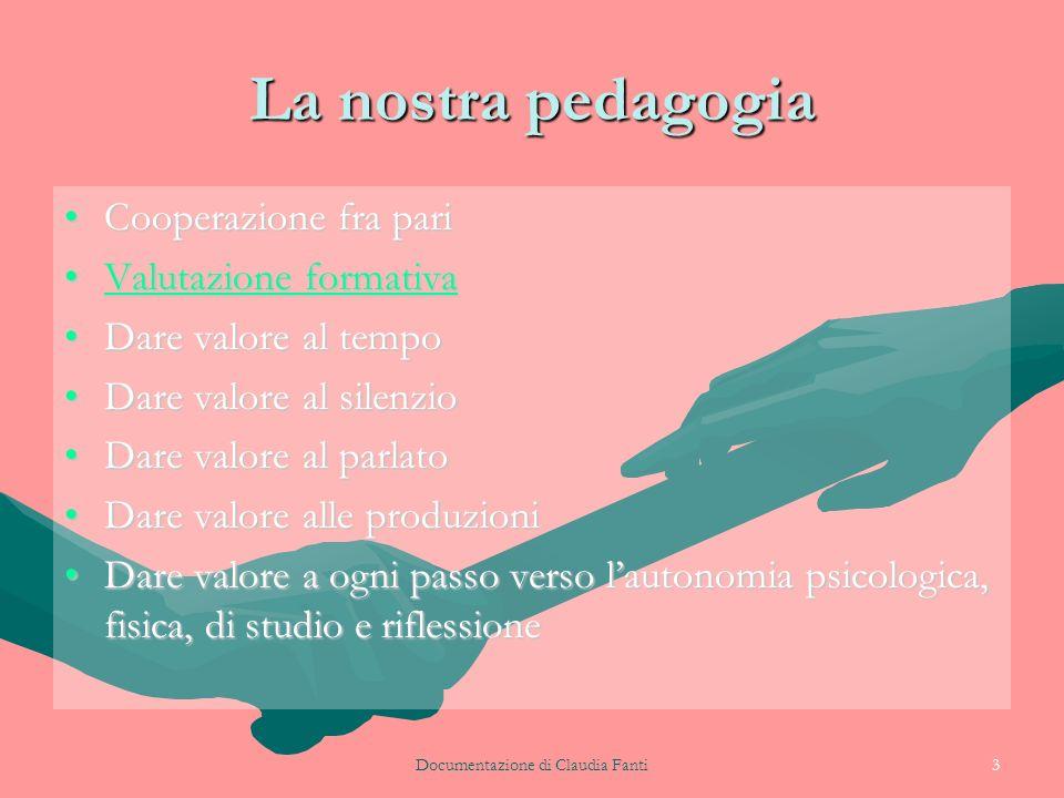 Documentazione di Claudia Fanti3 La nostra pedagogia Cooperazione fra pariCooperazione fra pari Valutazione formativaValutazione formativaValutazione