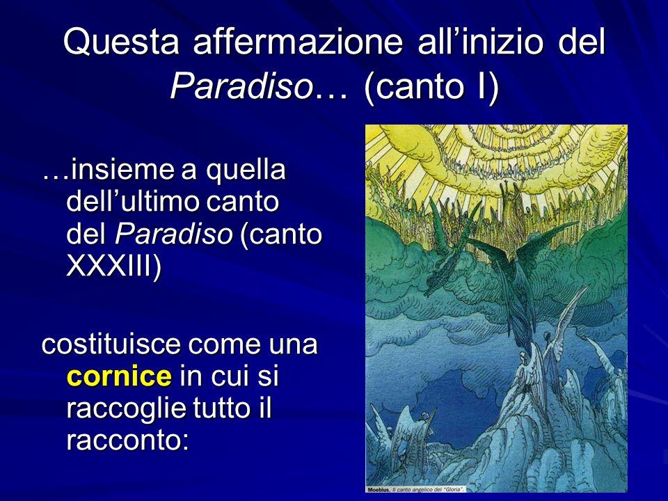 Questa affermazione allinizio del Paradiso… (canto I) …insieme a quella dellultimo canto del Paradiso (canto XXXIII) costituisce come una cornice in c