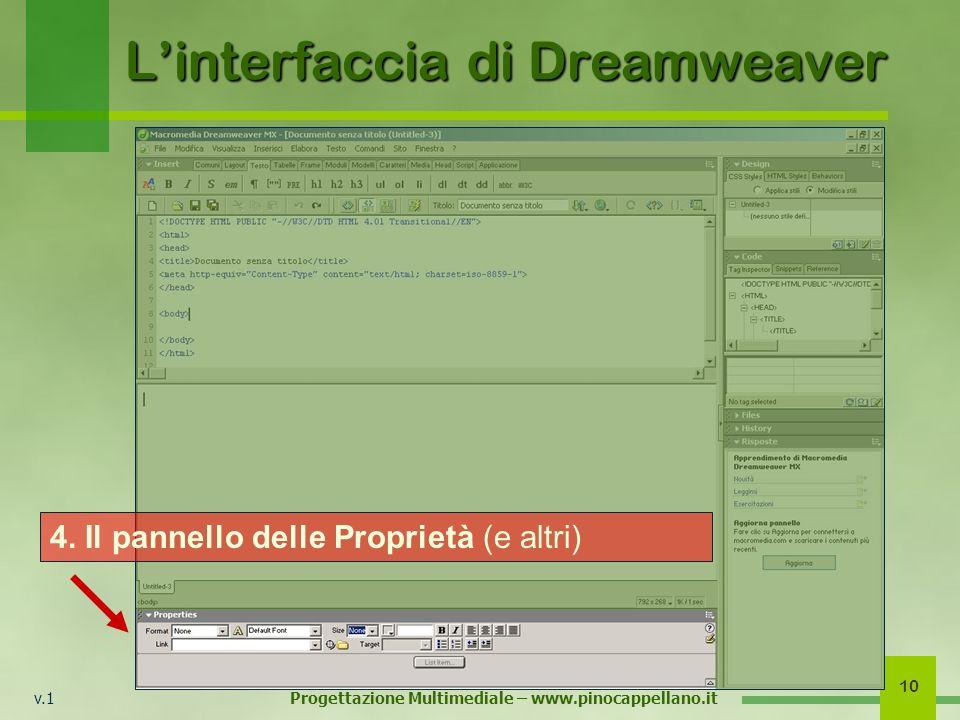 v.1 Progettazione Multimediale – www.pinocappellano.it 10 Linterfaccia di Dreamweaver 4. Il pannello delle Proprietà (e altri)