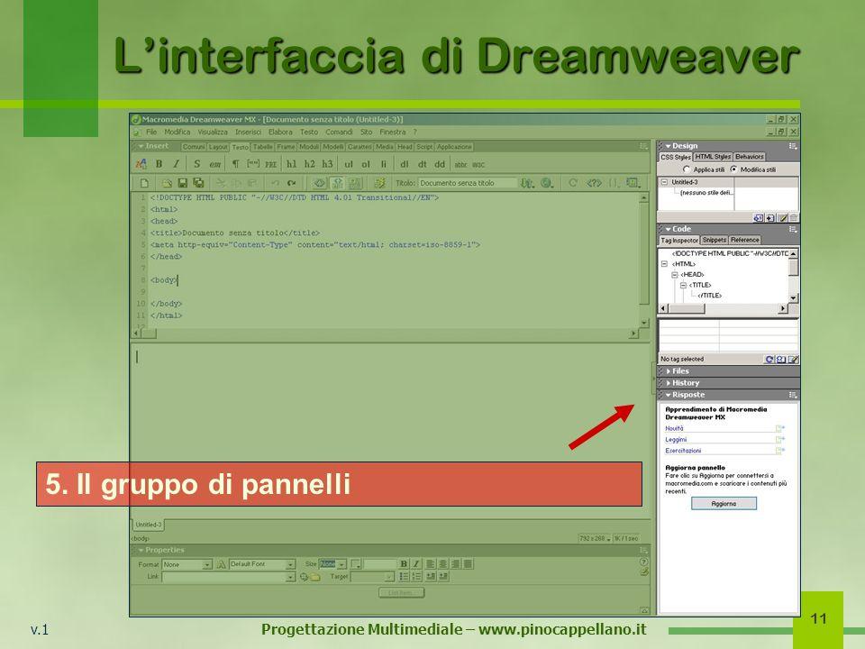 v.1 Progettazione Multimediale – www.pinocappellano.it 11 Linterfaccia di Dreamweaver 5. Il gruppo di pannelli