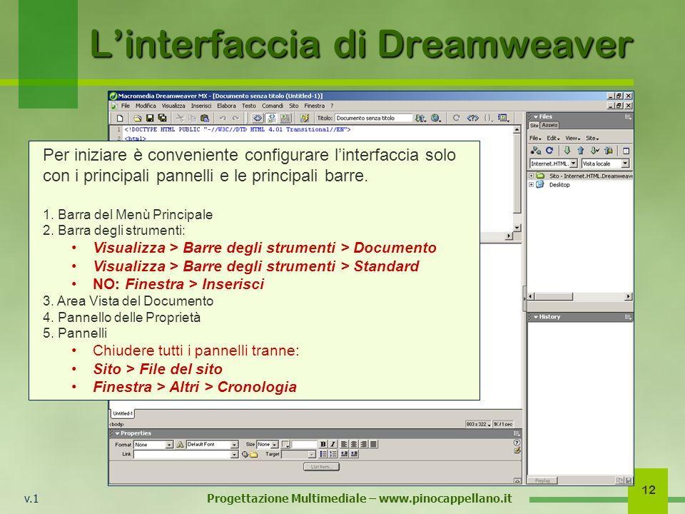 v.1 Progettazione Multimediale – www.pinocappellano.it 12 Linterfaccia di Dreamweaver Per iniziare è conveniente configurare linterfaccia solo con i p