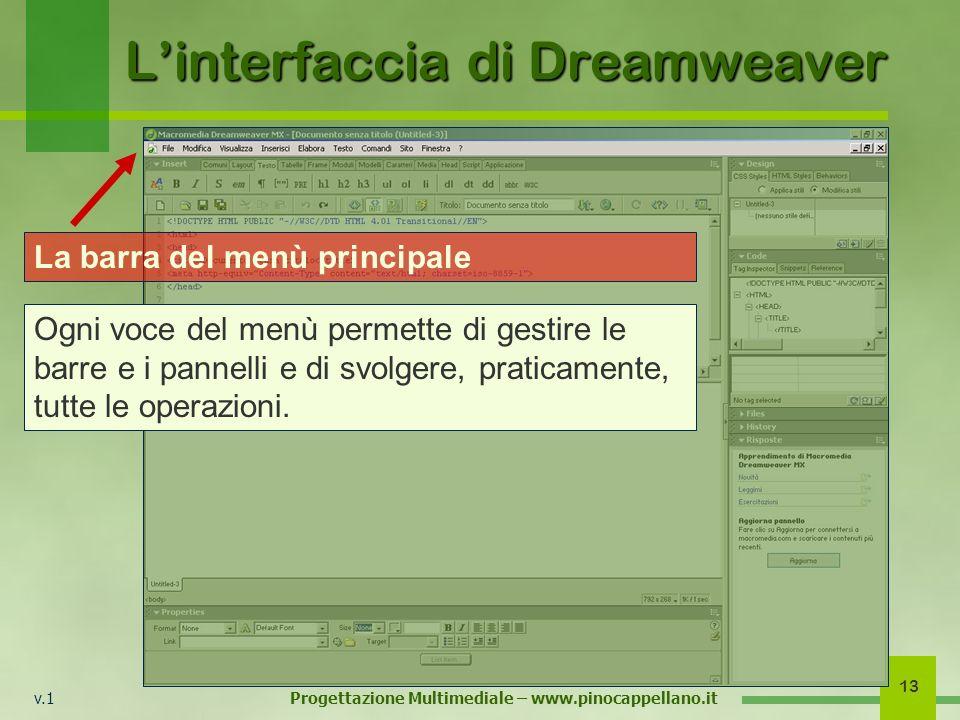 v.1 Progettazione Multimediale – www.pinocappellano.it 13 Linterfaccia di Dreamweaver La barra del menù principale Ogni voce del menù permette di gest