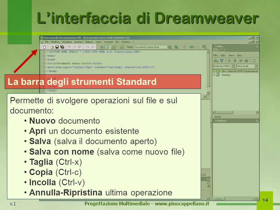 v.1 Progettazione Multimediale – www.pinocappellano.it 14 Linterfaccia di Dreamweaver La barra degli strumenti Standard Permette di svolgere operazion
