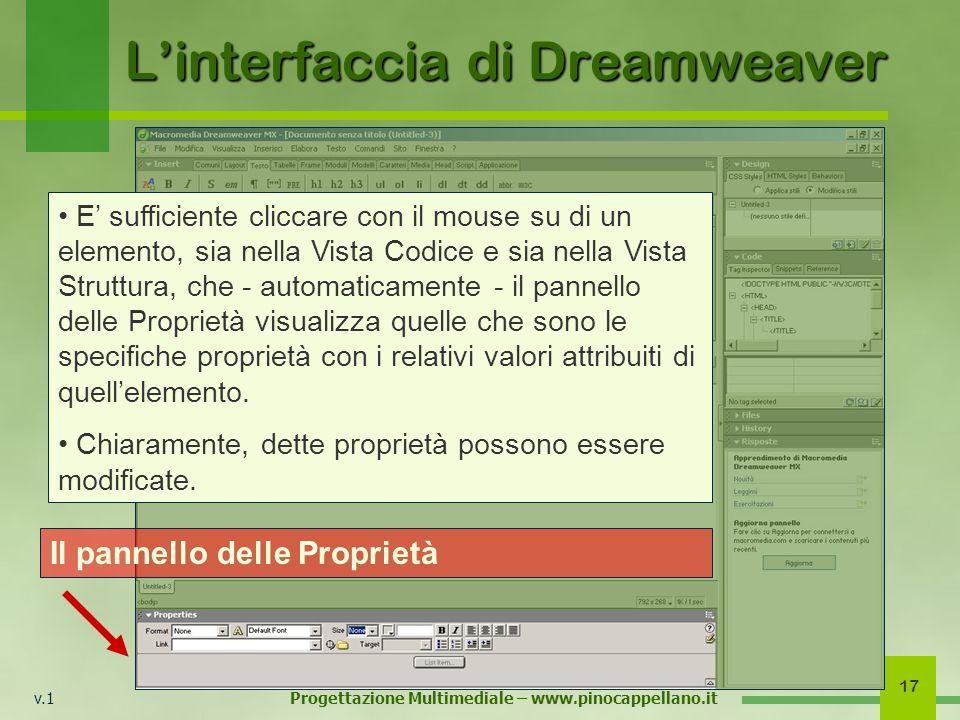 v.1 Progettazione Multimediale – www.pinocappellano.it 17 Linterfaccia di Dreamweaver Il pannello delle Proprietà E sufficiente cliccare con il mouse