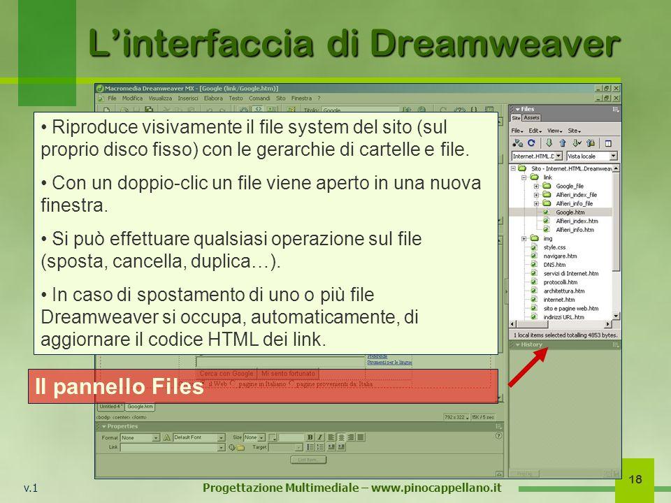 v.1 Progettazione Multimediale – www.pinocappellano.it 18 Linterfaccia di Dreamweaver Il pannello Files Riproduce visivamente il file system del sito