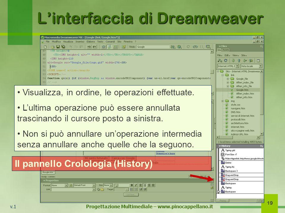 v.1 Progettazione Multimediale – www.pinocappellano.it 19 Linterfaccia di Dreamweaver Il pannello Crolologia (History) Visualizza, in ordine, le opera