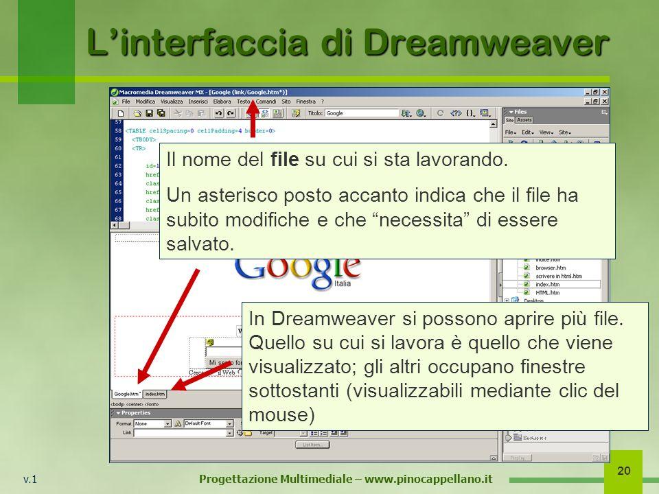 v.1 Progettazione Multimediale – www.pinocappellano.it 20 Linterfaccia di Dreamweaver Il nome del file su cui si sta lavorando. Un asterisco posto acc