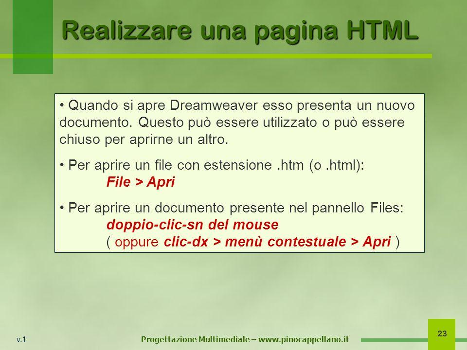 v.1 Progettazione Multimediale – www.pinocappellano.it 23 Realizzare una pagina HTML Quando si apre Dreamweaver esso presenta un nuovo documento. Ques