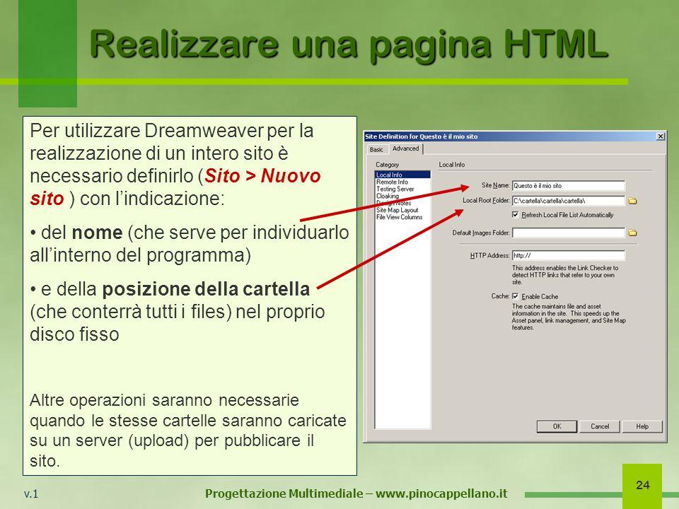 v.1 Progettazione Multimediale – www.pinocappellano.it 24 Realizzare una pagina HTML Per utilizzare Dreamweaver per la realizzazione di un intero sito