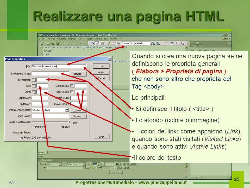 v.1 Progettazione Multimediale – www.pinocappellano.it 25 Realizzare una pagina HTML Quando si crea una nuova pagina se ne definiscono le proprietà ge