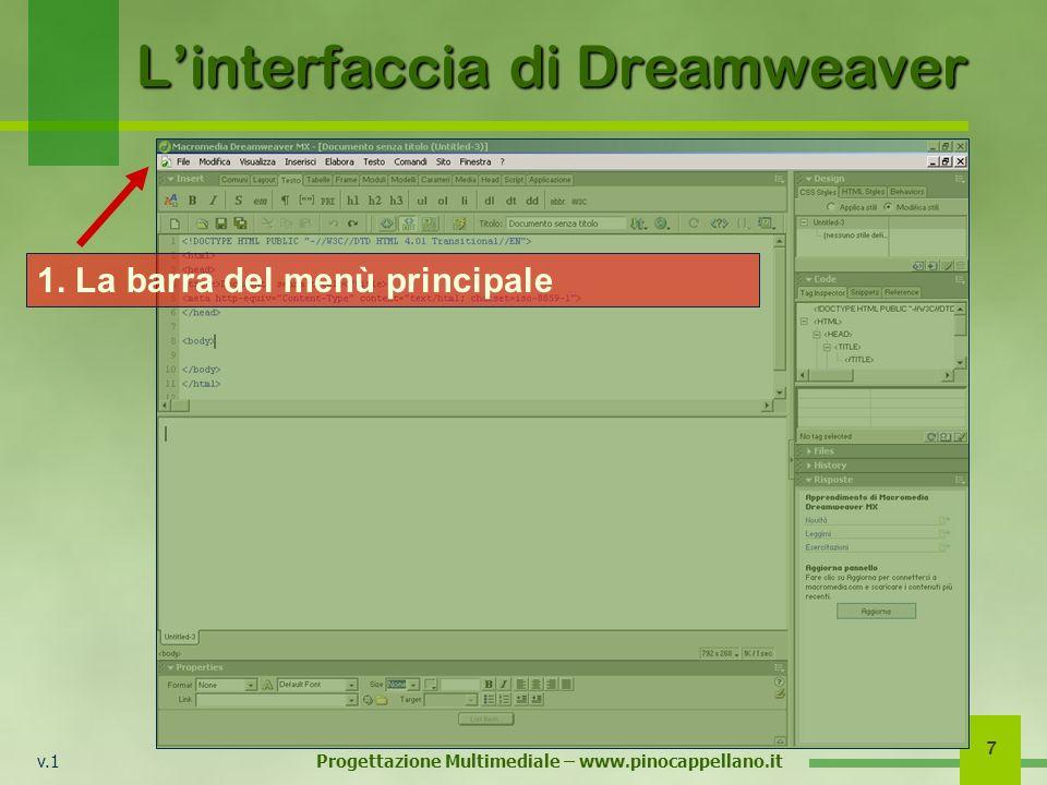 v.1 Progettazione Multimediale – www.pinocappellano.it 7 Linterfaccia di Dreamweaver 1. La barra del menù principale