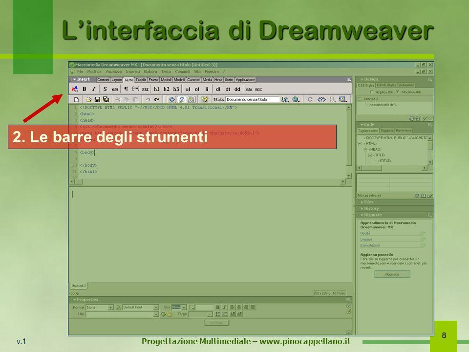 v.1 Progettazione Multimediale – www.pinocappellano.it 8 Linterfaccia di Dreamweaver 2. Le barre degli strumenti
