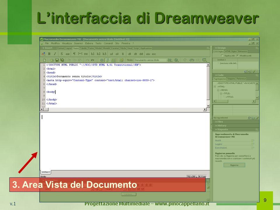 v.1 Progettazione Multimediale – www.pinocappellano.it 9 Linterfaccia di Dreamweaver 3. Area Vista del Documento