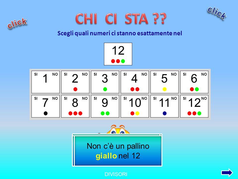 DIVISORI 1 2 3 5 4 6 7 8 9 10 11 12 Scegli quali numeri ci stanno esattamente nel SINOSI NO 12 L 1 ci sta in tutti i numeri Il suo pallino è presente