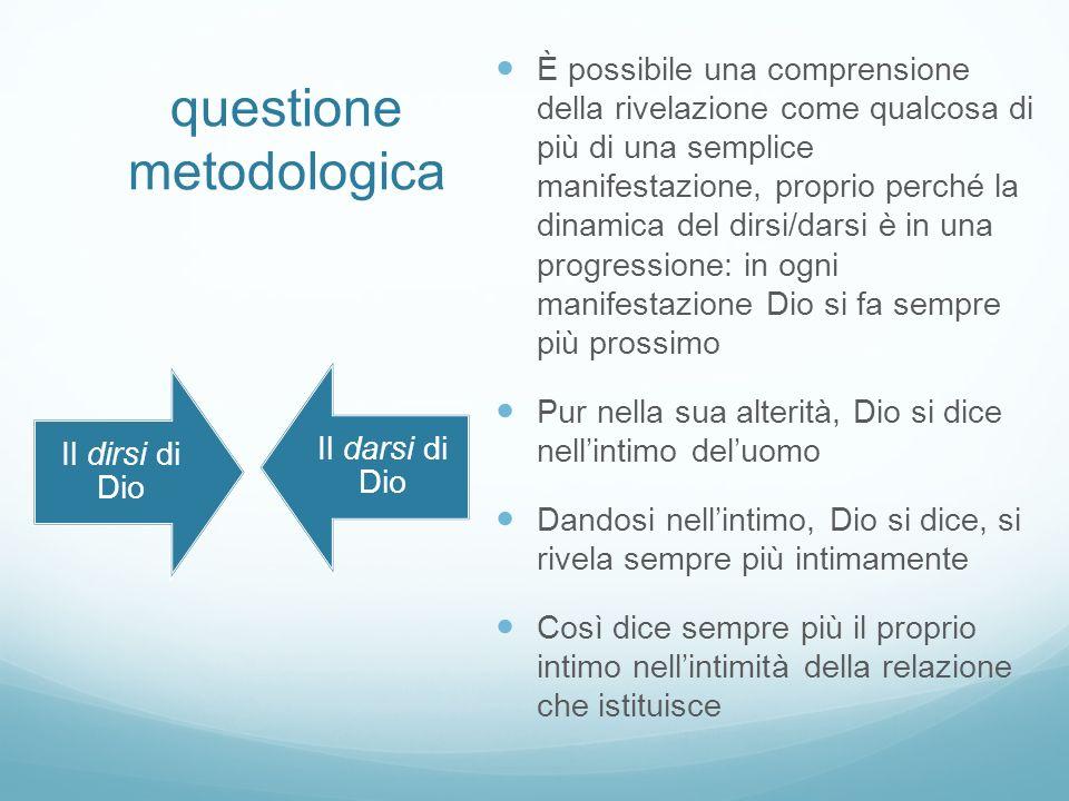 questione metodologica È possibile una comprensione della rivelazione come qualcosa di più di una semplice manifestazione, proprio perché la dinamica