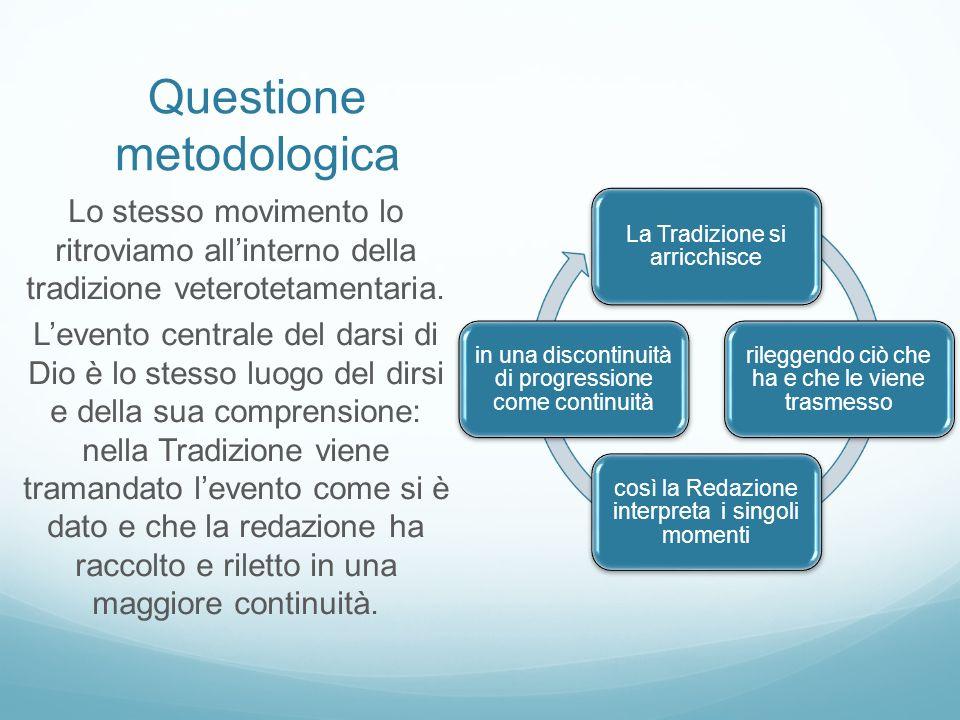 Questione metodologica La Tradizione si arricchisce rileggendo ciò che ha e che le viene trasmesso così la Redazione interpreta i singoli momenti in u
