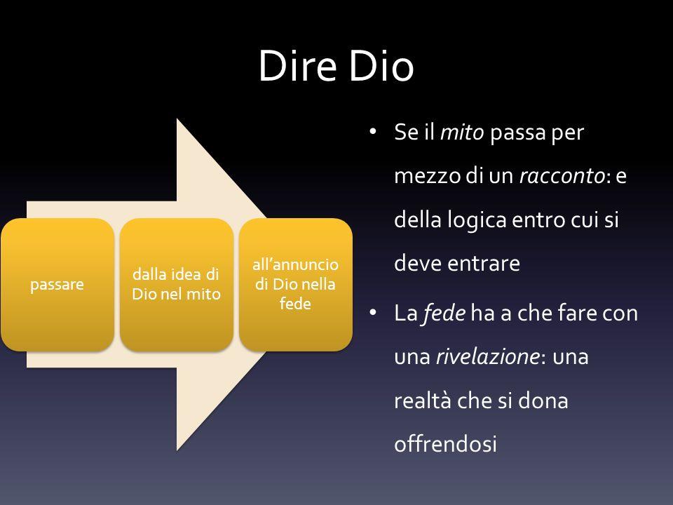 Dire Dio passare dalla idea di Dio nel mito allannuncio di Dio nella fede Se il mito passa per mezzo di un racconto: e della logica entro cui si deve
