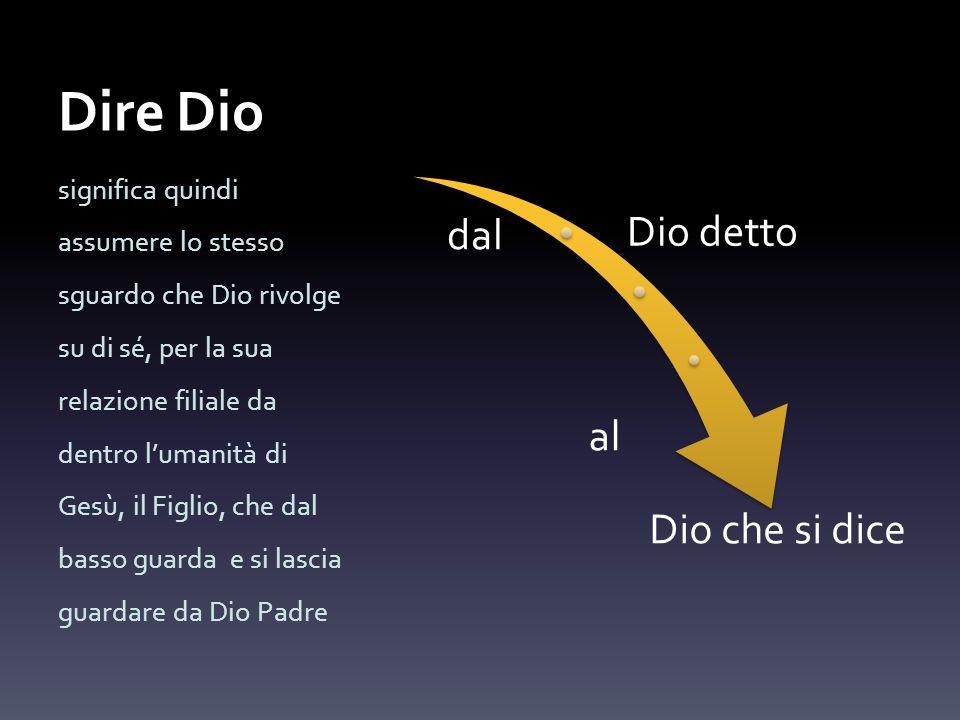 Dire Dio dal Dio detto al Dio che si dice significa quindi assumere lo stesso sguardo che Dio rivolge su di sé, per la sua relazione filiale da dentro