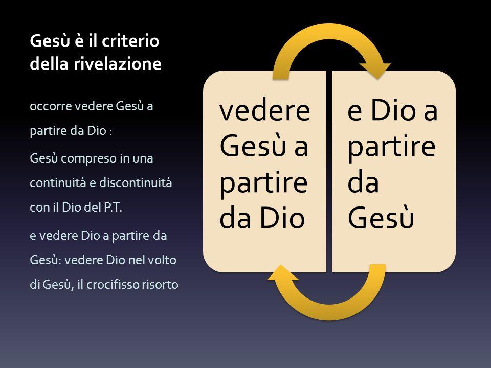 Gesù è il criterio della rivelazione vedere Gesù a partire da Dio e Dio a partire da Gesù occorre vedere Gesù a partire da Dio : Gesù compreso in una