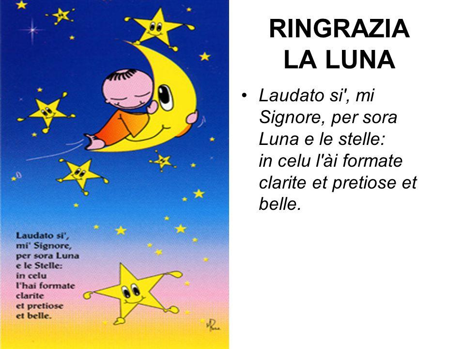RINGRAZIA LA LUNA Laudato si', mi Signore, per sora Luna e le stelle: in celu l'ài formate clarite et pretiose et belle.