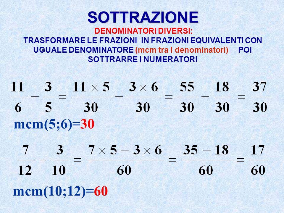 SOTTRAZIONE mcm(5;6)=30 mcm(10;12)=60 DENOMINATORI DIVERSI: TRASFORMARE LE FRAZIONI IN FRAZIONI EQUIVALENTI CON UGUALE DENOMINATORE (mcm tra I denomin