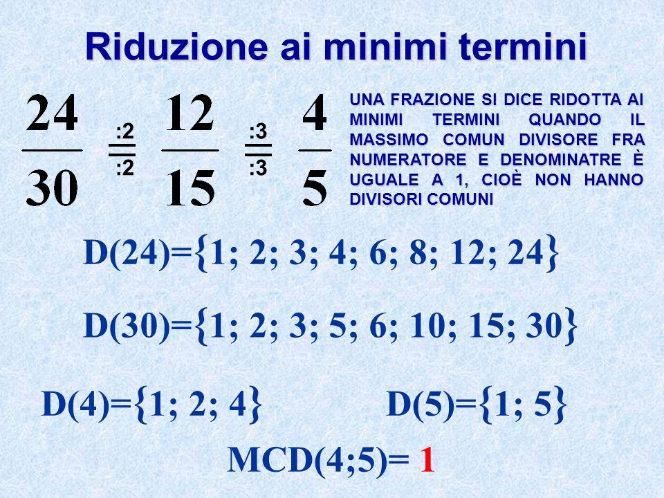 Riduzione ai minimi termini D(24)= { 1; 2; 3; 4; 6; 8; 12; 24 } D(30)= { 1; 2; 3; 5; 6; 10; 15; 30 } :2 :3 D(4)= { 1; 2; 4 } D(5)= { 1; 5 } MCD(4;5)=