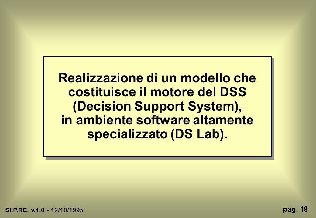 Realizzazione di un modello che costituisce il motore del DSS (Decision Support System), in ambiente software altamente specializzato (DS Lab). SI.P.R
