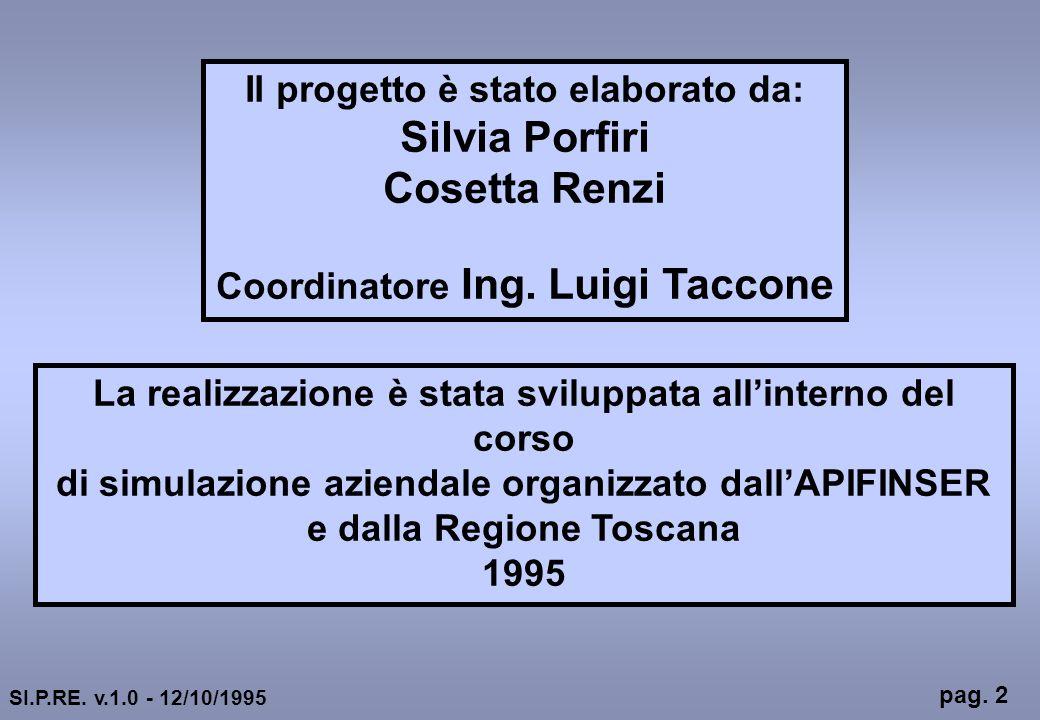 Il progetto è stato elaborato da: Silvia Porfiri Cosetta Renzi Coordinatore Ing. Luigi Taccone La realizzazione è stata sviluppata allinterno del cors