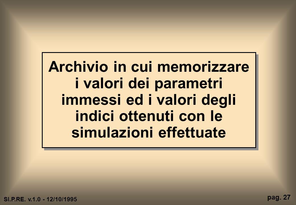 Archivio in cui memorizzare i valori dei parametri immessi ed i valori degli indici ottenuti con le simulazioni effettuate pag. 27 SI.P.RE. v.1.0 - 12